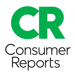 Consumer Reports logo green letters CR with Black words Consumer Reports underneath