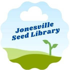 Jonesville Seed Library logo in scalloped round shape with green grass and two leafed sprout, blue sky with white cloud, and dark blue lettering
