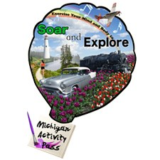 MAP logo is shape of a hot air balloon decorated with pictures of tulips, windmill, old automobile, locomotive engine, airlplane, a staff of musical notes, and the words soar & explore