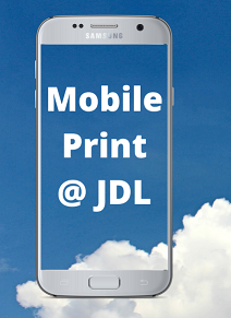 cell phone with clouds white words Mobile Printing @ JDL