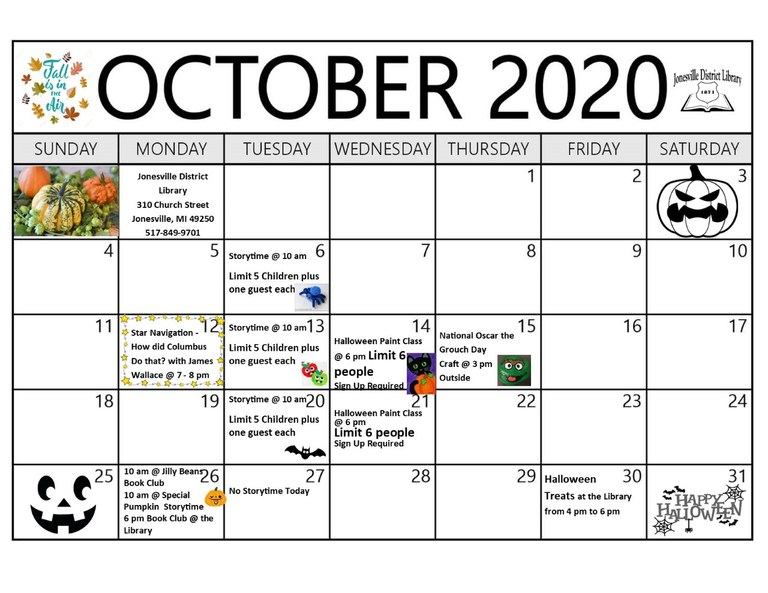 calendar of events for October 2020