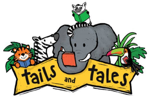 Tails and Tales logo featuring jungle animals