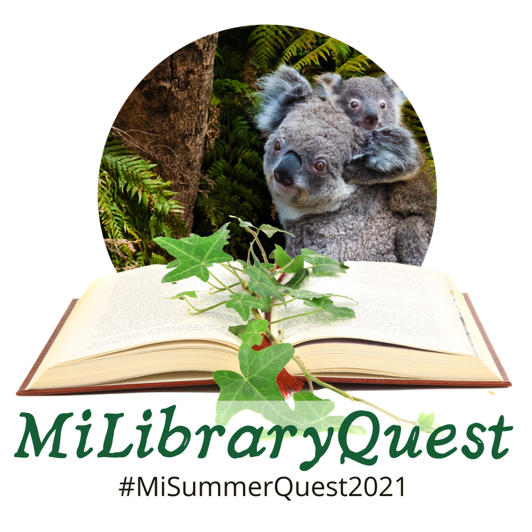 MiLibrary Quest logo with koalas, an open book and the text #MiLibraryQuest2021